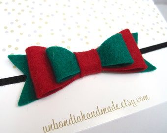 Felt double bow headband style 2, baby girl headband, newborn elastic headband