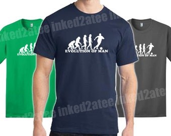 Evolution of man soccer mens tshirt gift funny humor