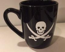 Pirate Mug, Jolly Roger Mug, Pirate Ship Cup, Black Ceramic Mug, Halloween Mug, Skull, Sword Cup, Treasure, Spooky Mug, Gothic Gift, Holiday