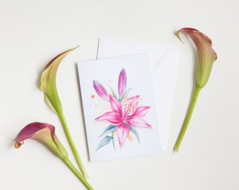 Lily Spring Flower Greeting Card