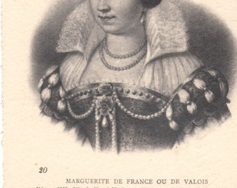 Historical French vintage etchings engravings postcard 1906. French History . Marguerite de France.