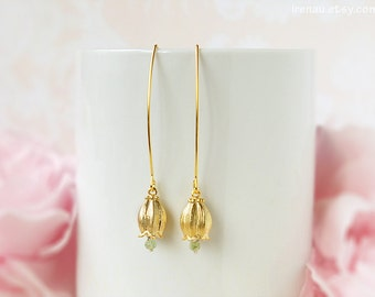 Lily of the Valley earrings, Peridot green gold long dangle earrings, Lily of The Valley Flower, Modern everyday earrings natural gemstone