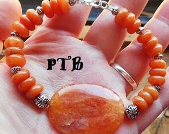 "Creativity ~ Authentic Natural Orange Aventurine Gemstone Bracelet 8.5"""