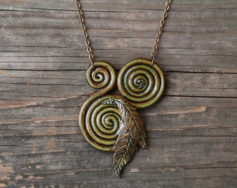 Polymer Clay Spiral Necklace, Handmade OOAK, Earthy Nature Pendant, Green Leaf, Statement Jewelry, Hippie Pagan Boho Fashion, Forest Spirit