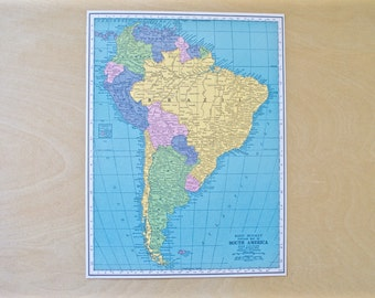 1942 - South America Map - Large Antique Map - Beautiful Old Map South America - Large Vintage Map - Colorful Atlas Map - Gift - Home Decor