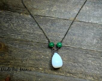 Opal Pendant Necklace, Boho Opalite Glass Teardrop Pendant w/Salvaged Green Glass Beads, Oxidized Copper, Dark, Gypsy, Hippie, Yoga, Funky