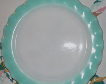 "HAZEL ATLAS CRINOLINE Turquoise Rippled Edged R A R E ! 10 1/2"" Large Dinner Plate."