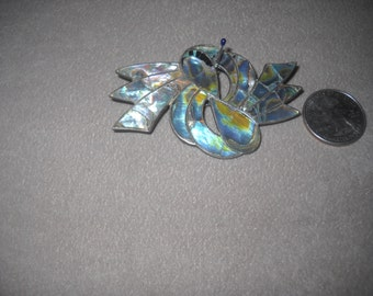"""Sterling and Abalone Pin 1940""""s"""