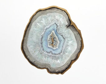 Blue Topaz Agate Slice Print, Agate Art, Crystal Print, Gemstone Print, Mineral Art, Stone Painting, Crystal Decor, Crystal Art, Gem Print