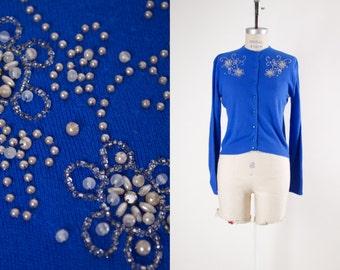 Beaded Royal Blue Interlock Knit Button Up Cardigan