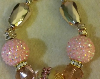 Baubles and Bling Necklace, Light Pink and Gold