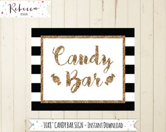 candy bar sign printable candy buffet sign black and white sign gold wedding sign dessert table sign take a treat sign candy sign 128