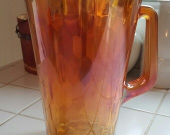 Jeanette Honeycomb Marigold Carnival Glass Pitcher