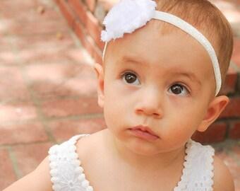 Baby Headband, Baby Headband White, Baby Girl Headband, White Baby Headband, White Headband, Baptism Headband, Baby Girl, Newborn Headband