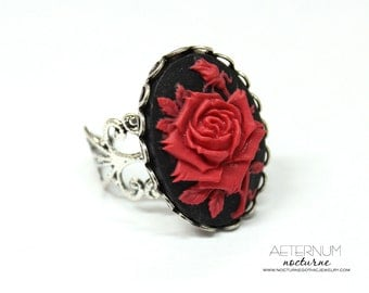 Gothic ring - antique silver setting and red rose cameo - Victorian Gothic jewelry