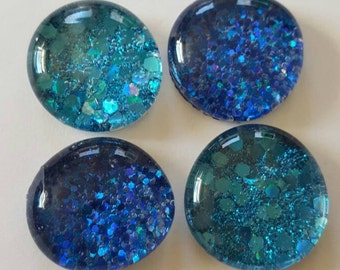 Set of 4 Super strong magnets, Light and Dark Blue sparkly glitter magnets, sparkle, refrigerator magnets, quality, handmade kitchen decor