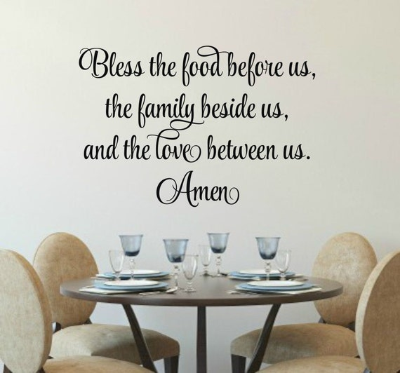 Bless The Food Before Us Decal Kitchen Prayer Wall Decal