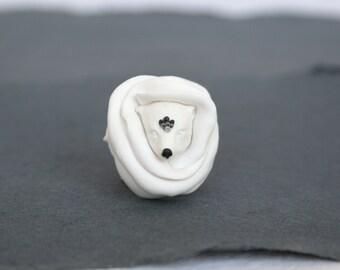 Make To Order, Polar Bear Flower Ring, Fairy Flower Ring, Bear Ring, Magic Jewelry,  Artisan Jewelry,  Miracles, Wonder, Fairy Tale