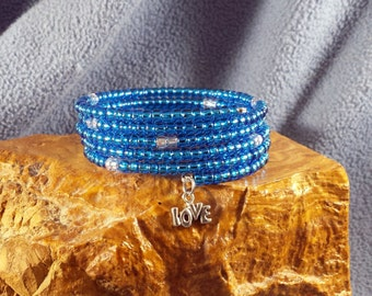 Bright Blue and Silver Glass Seed Bead Memory Wire Wrap Bangle Bracelet