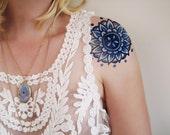 Blue Mandala temporary tattoo / round temporary tattoo / bohemian temporary tattoo / floral temporary tattoo / boho accessoire / boho gift