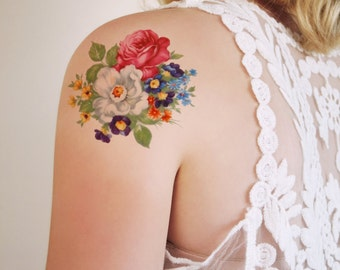 Round floral temporary tattoo / bohemian temporary tattoo / flower temporary tattoo / bohemian gift / festival temporary tattoo / bohemian