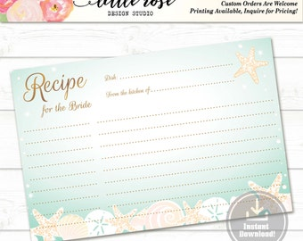 Recipe for the Bride to Be - Printable Recipe Card - Bridal Shower Games - Beach Seashells - Wedding - Instant Download - LR1004