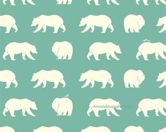 Bear Camp, Birch Organic Cotton, BC-01 Pool Jay-Cyn, Organic Quilt Fabric, Aqua Bear Fabric, Organic Cotton Fabric