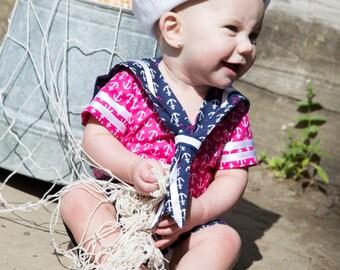 HANDMADE in USA -  Sailor Beach Sun Hat White CUSTOM Baby/Toddler/Child - Reversible - Many Sizes Available