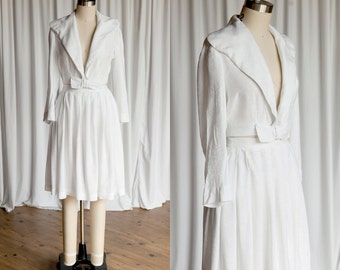 Two For One suit | vintage 50s skirt & jacket | white 50s summer suit | white cotton skirt set | vintage 50s suit | sailor collar