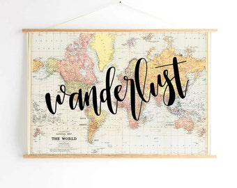 hand lettered calligraphy map // wanderlust
