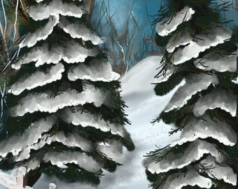 Original digital painting by  by Nancy Long, Nancylongdesigns. A landscape painting with snowy pine trees and a fence in the foreground.