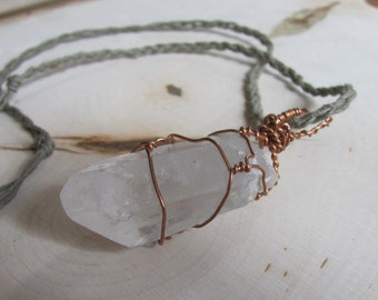 Copper Wire-Wrapped Quartz Crystal Point