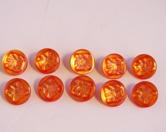 Vintage 1960s buttons x 10 - pearlescent textured orange beauties!