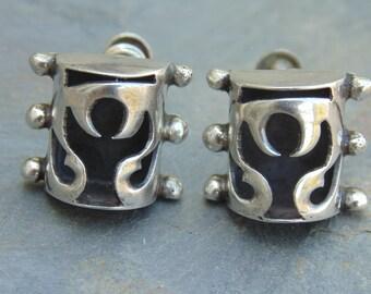 AEM ~ Vintage Mexican Sterling Angel Shadowbox Screw Back Earrings