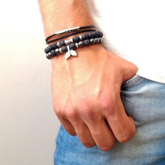 mens bracelet set mens beaded braceletes set mens black