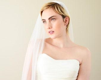 Soft wedding veil, soft veil, one tier veil, one layer veil, raw edge veil, soft tulle veil, ivory veil, white veil, simple veil