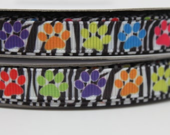 3/8 Paw Print Ribbon Grosgrain Ribbon by the Yard for Hairbows, Scrapbooking, and More!!