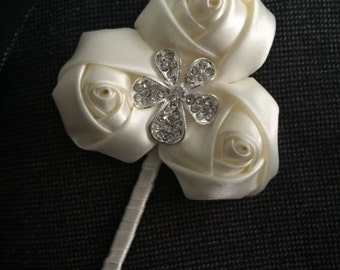 Ivory Rose Boutonniere  - Available in different colors