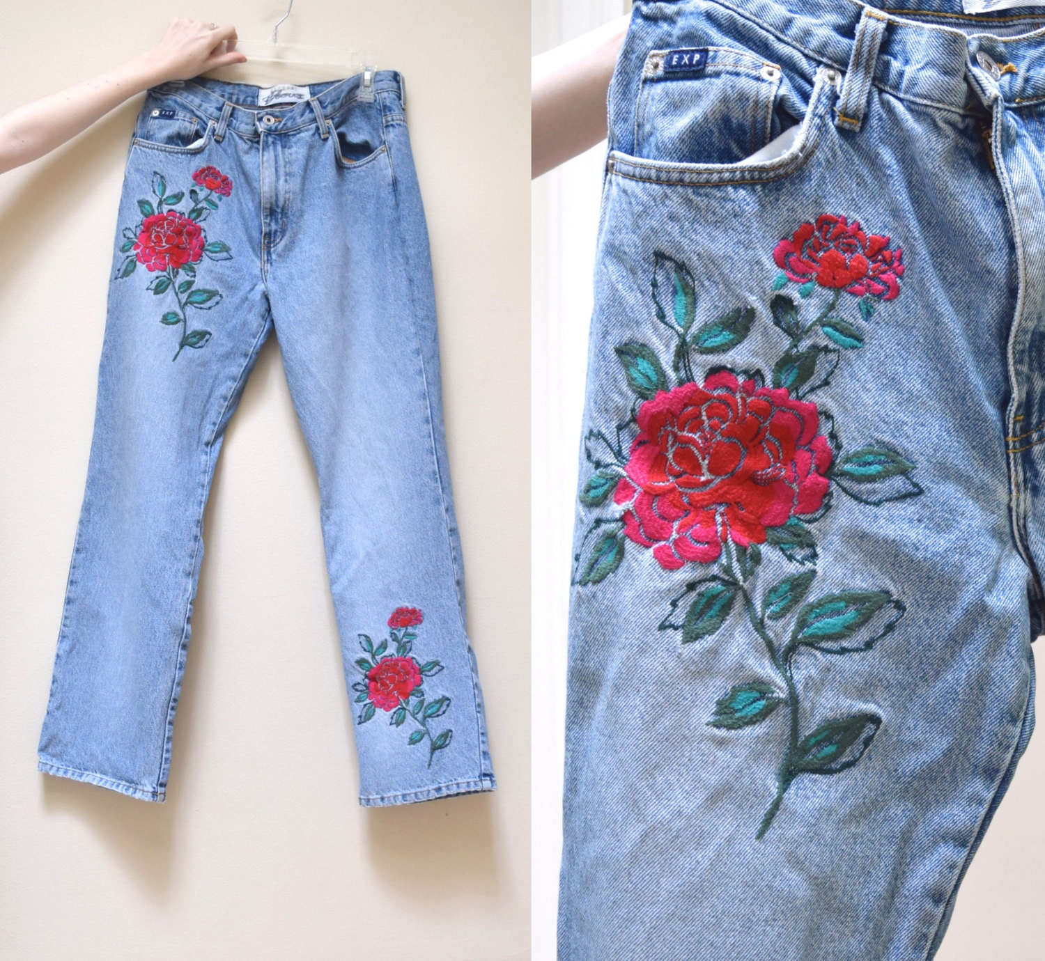 S express floral embroidered jeans amazing mom denim l
