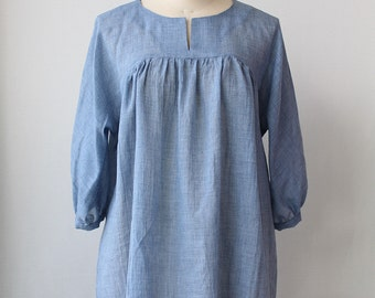 Dolman sleeve blouse, Cotton Spring Summer blouse - Light blue