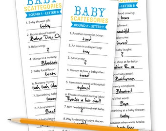 Baby Shower Scattegories!