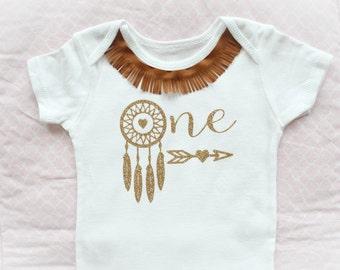 Beautiful Dreamcatcher Wild One Birthday Onesie in Gold for Baby Girl 12 Months Old First Birthday Cake Smash Arrow