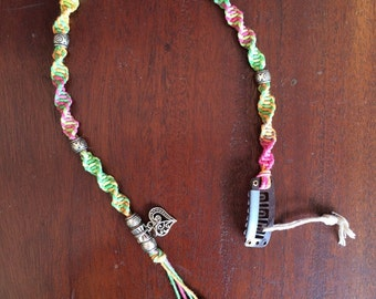Hippie Gypsy Hemp Macrame Hair Clip in's with Beads