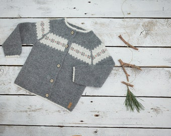 Fair isle sweater in dark grey / Hand knit alpaca baby cardigan / Girl / Boy sweater / Kids sweater / Children sweater/  Toddler sweater