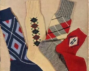 1950s Bear Brand Hand Knit Socks for Men Women Children Pattern Book Leaflet Vol 340