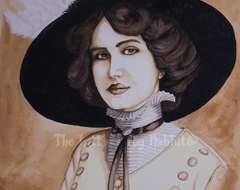 Original Watercolor, Sepia Painting, Portrait Watercolor, Lily Elsie, Vintage Style Art, Edwardian Portrait, Female Watercolor