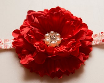 Large Red Peony Flower Pearl Rhinestone Center on Red and White Heart FOE