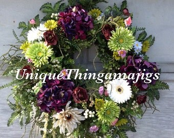Spring Wreath, Summer Wreath, Hydrangea Wreath