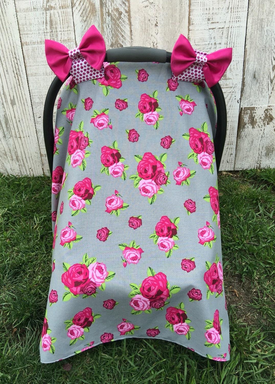 custom baby girl car seat cover set cottage chic roses car. Black Bedroom Furniture Sets. Home Design Ideas