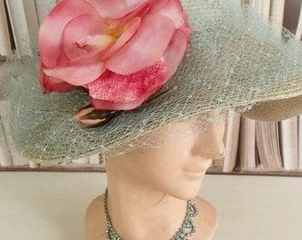 Ravishing antique eau de nil straw hat/bonnet~Gorgeous pink millinery rose~Swathed in fine net~Gently shabby,utterly divine confection